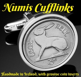 Coin Cufflinks - 3d Irish Hare (Logo 1)