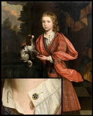 This unidentified portrait of a boy and his dog probably dates to the late 17th century. The close-up detail of the portrait shows linked buttons hanging from the open shirt collar.